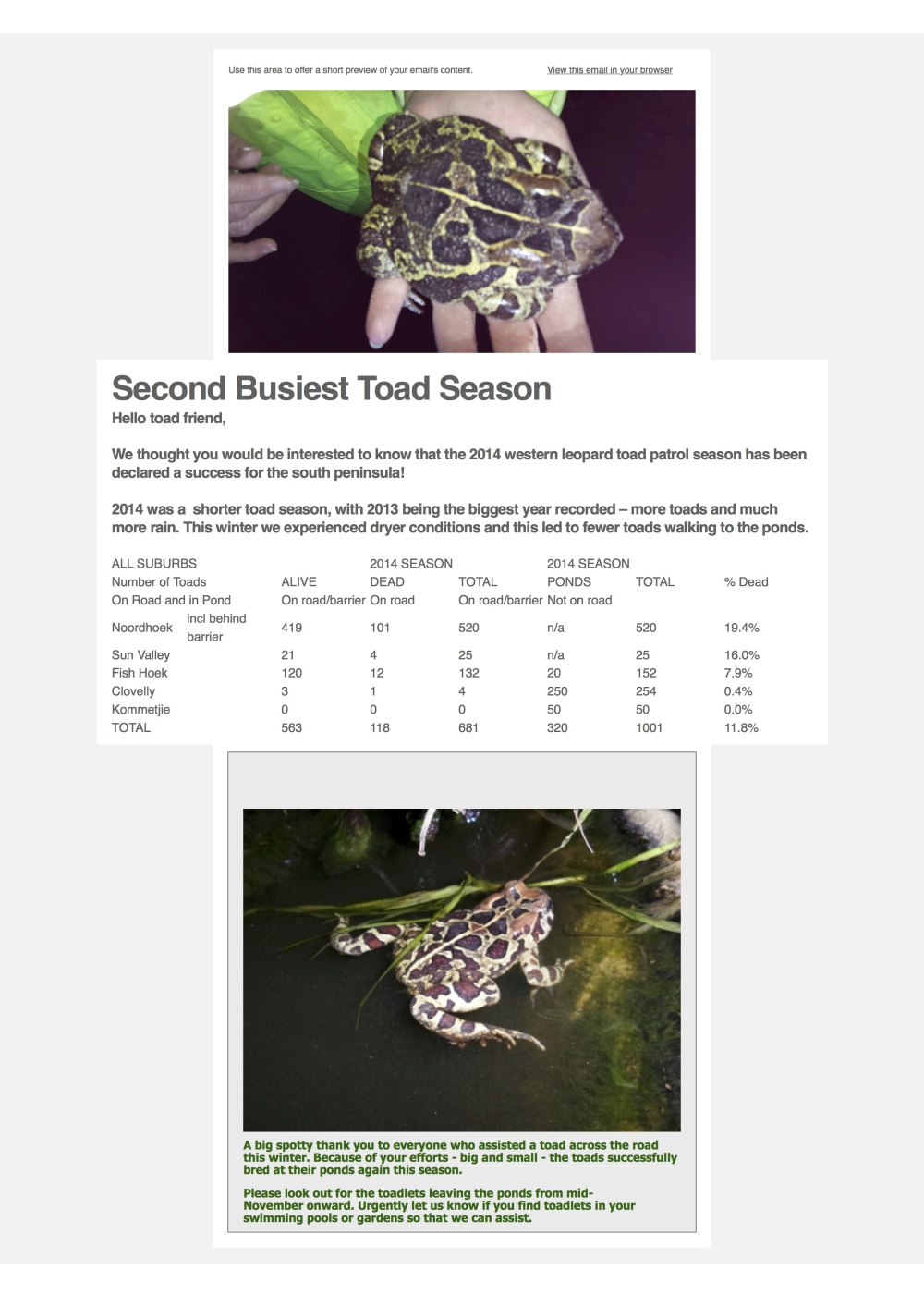 Toad Migration 2014 - results