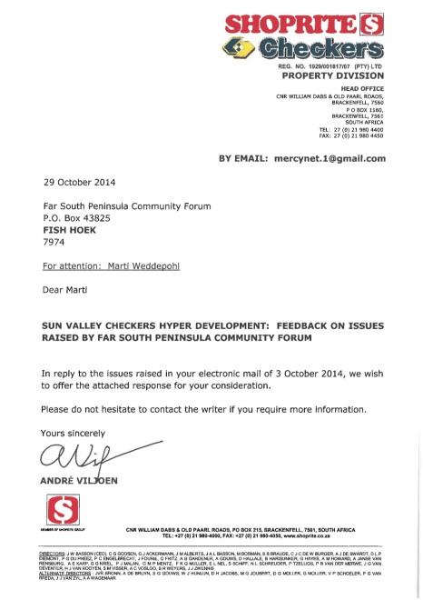 Letter - PSPCF - 29 October 2014